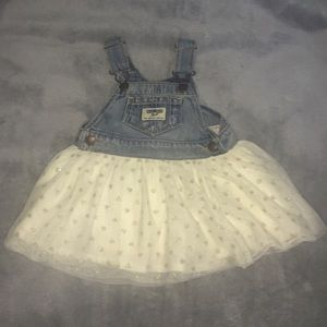 Oshkosh b'gosh 6M baby girl overall tulle dress